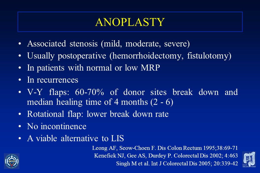 ANOPLASTY Associated stenosis (mild, moderate, severe)