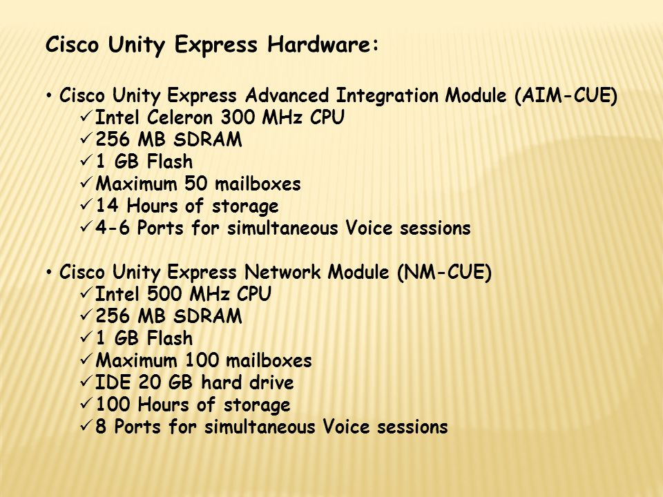 Cisco Unity Express Hardware:
