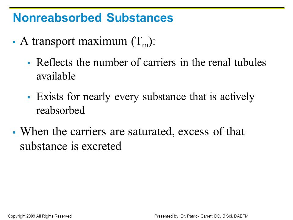Nonreabsorbed Substances