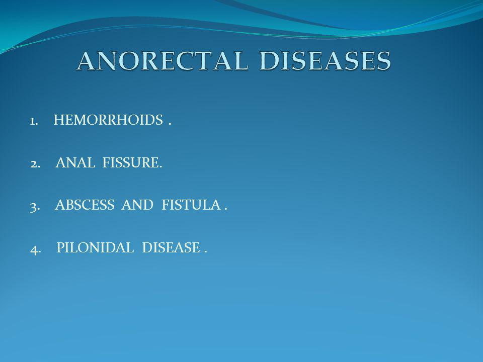 ANORECTAL DISEASES 1. HEMORRHOIDS . 2. ANAL FISSURE.