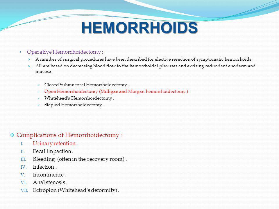 HEMORRHOIDS Complications of Hemorrhoidectomy :
