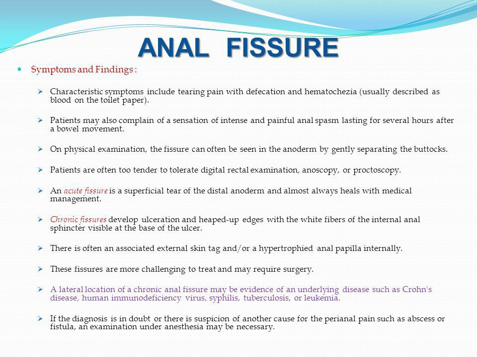 ANAL FISSURE Symptoms and Findings :