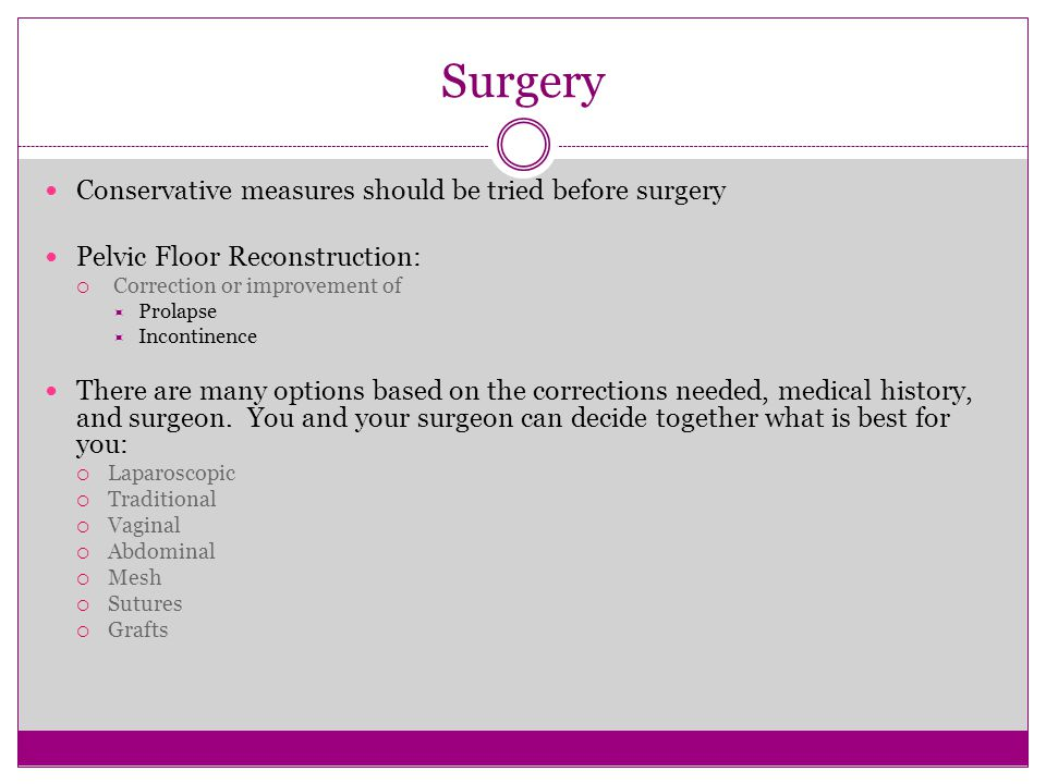 31 Surgery Conservative Measures Should Be Tried Before Surgery. Pelvic  Floor Reconstruction: ...