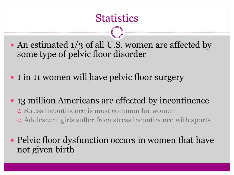 Statistics An estimated 1/3 of all U.S. women are affected by some type of pelvic floor disorder. 1 in 11 women will have pelvic floor surgery.