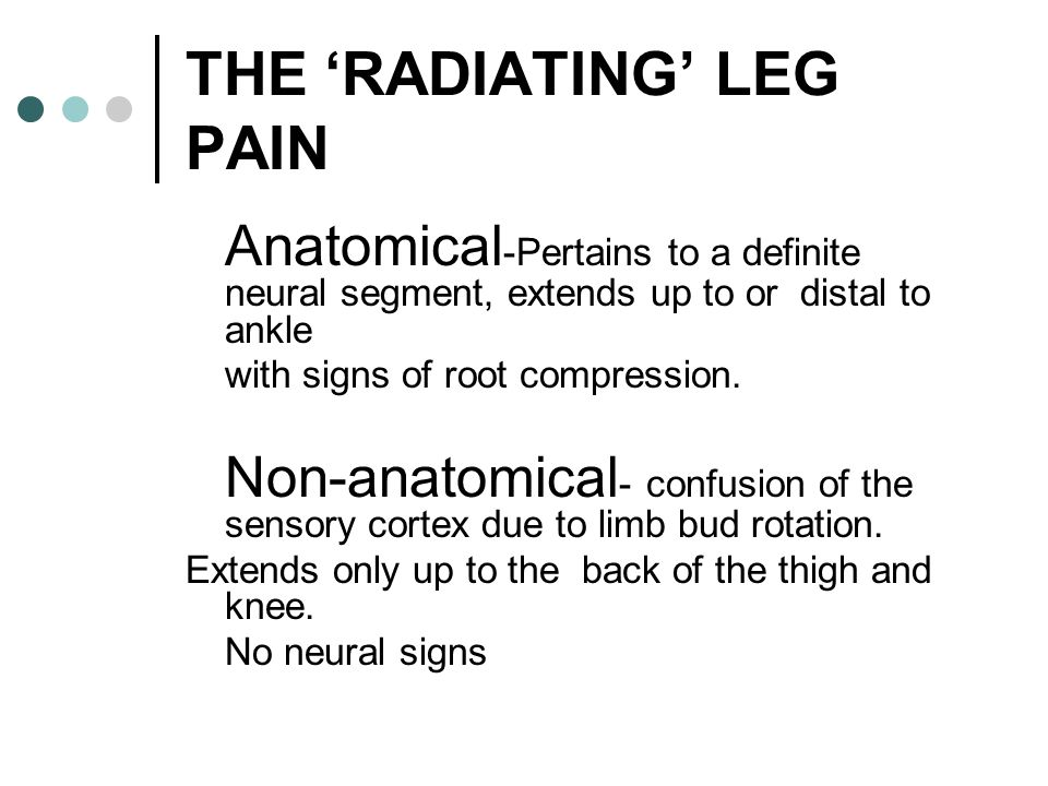 THE 'RADIATING' LEG PAIN