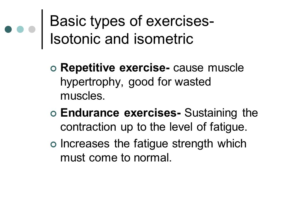 Basic types of exercises- Isotonic and isometric