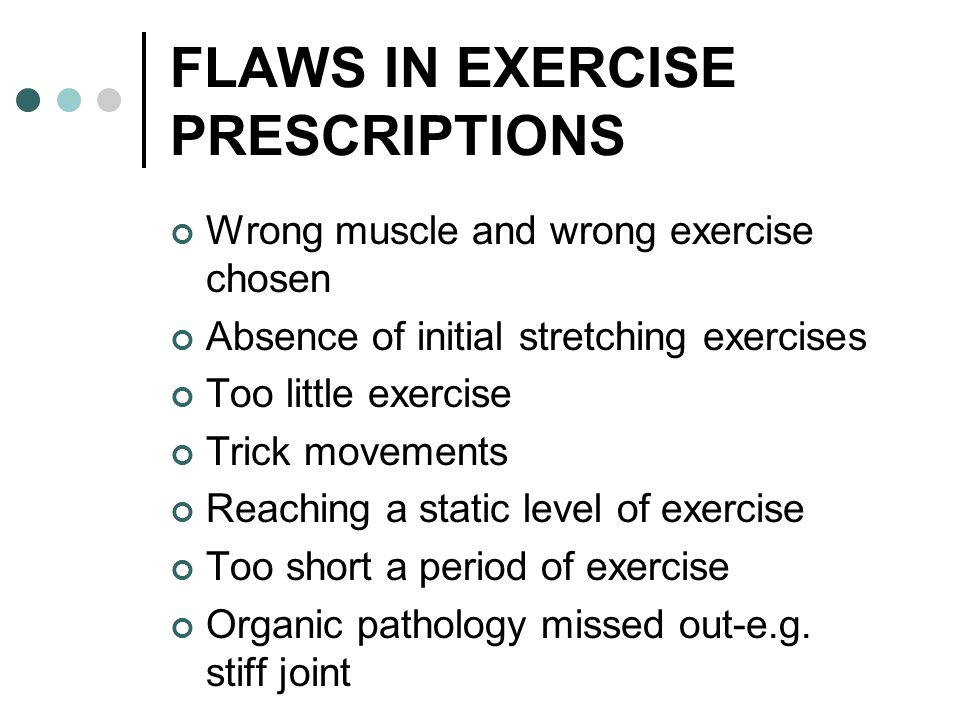 FLAWS IN EXERCISE PRESCRIPTIONS