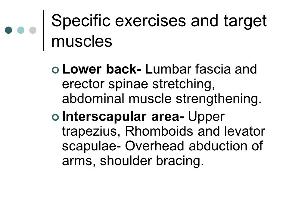 Specific exercises and target muscles