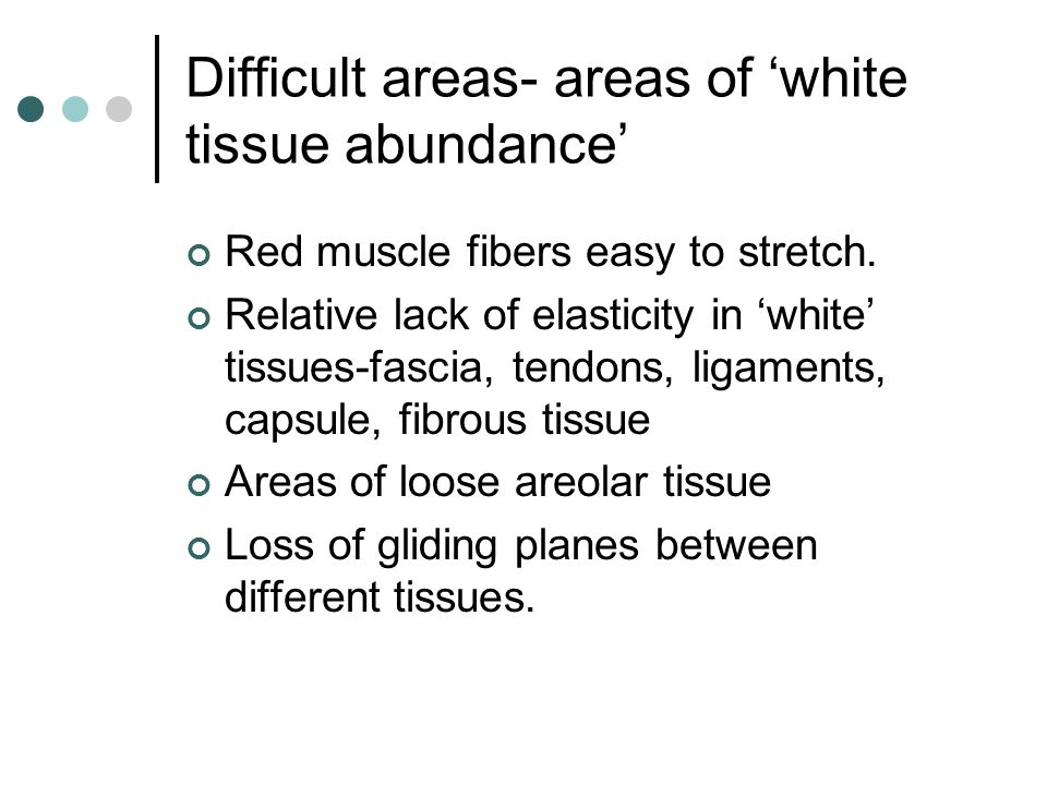 Difficult areas- areas of 'white tissue abundance'