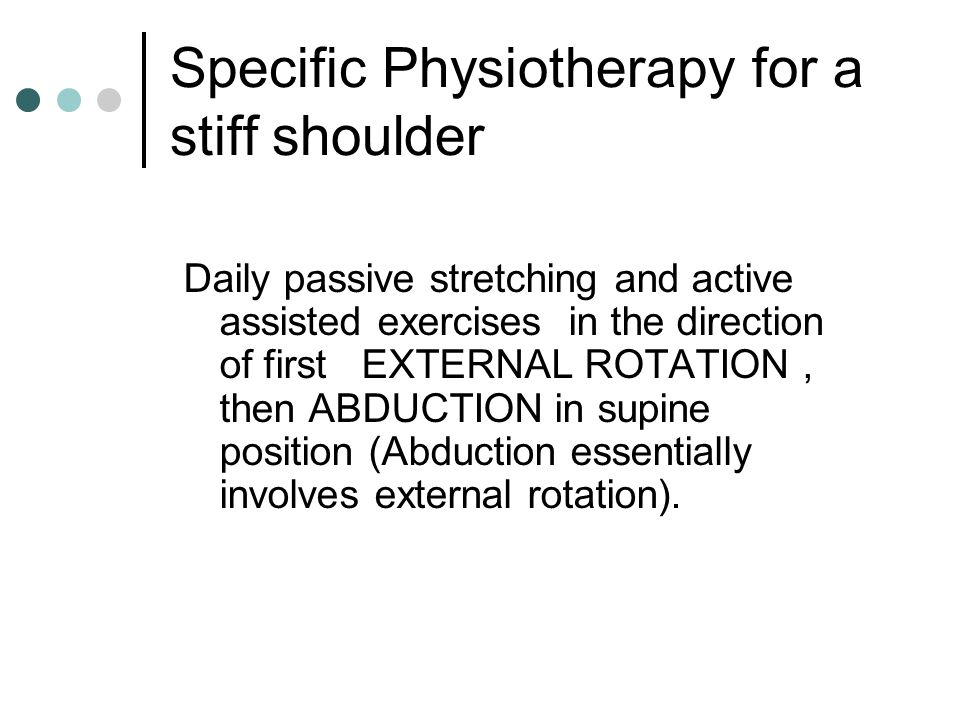 Specific Physiotherapy for a stiff shoulder
