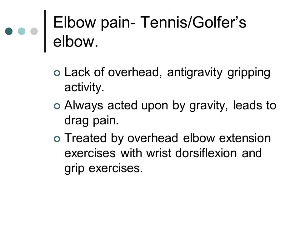 Elbow pain- Tennis/Golfer's elbow.