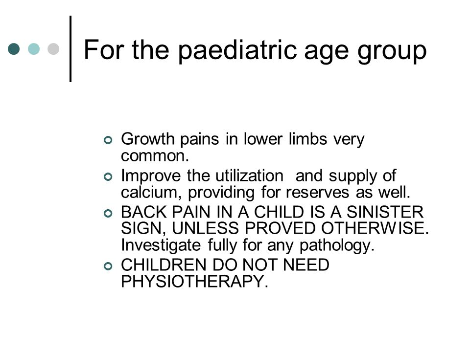 For the paediatric age group