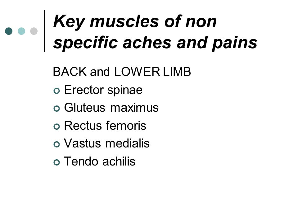 Key muscles of non specific aches and pains