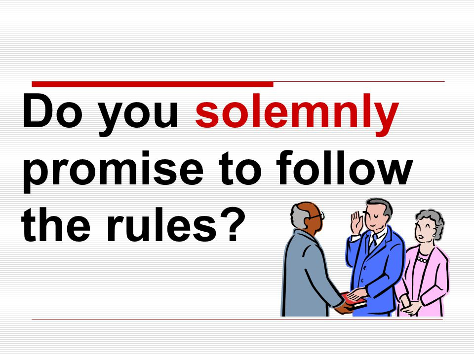 Do you solemnly promise to follow the rules