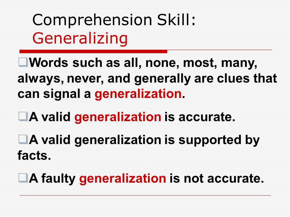Comprehension Skill: Generalizing