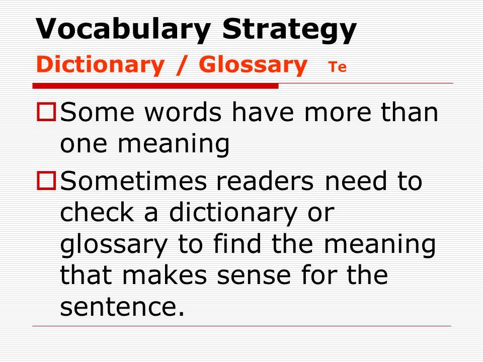 Vocabulary Strategy Dictionary / Glossary Te