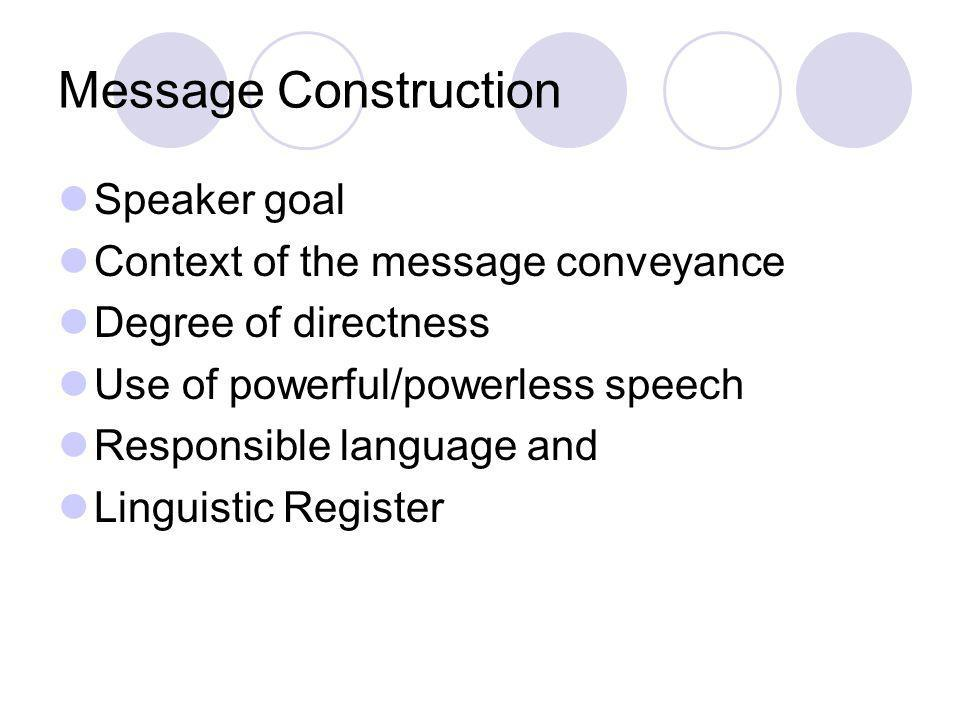 Message Construction Speaker goal Context of the message conveyance