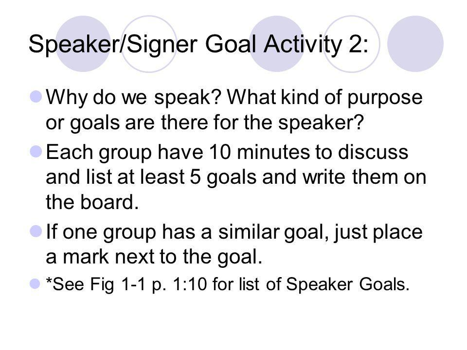 Speaker/Signer Goal Activity 2:
