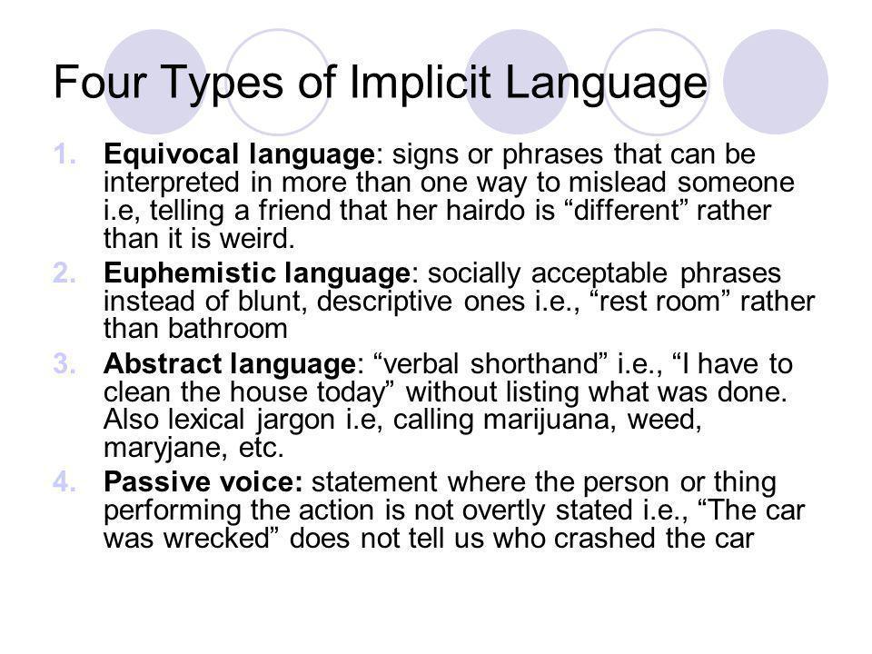 Four Types of Implicit Language
