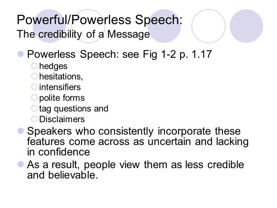 Powerful/Powerless Speech: The credibility of a Message