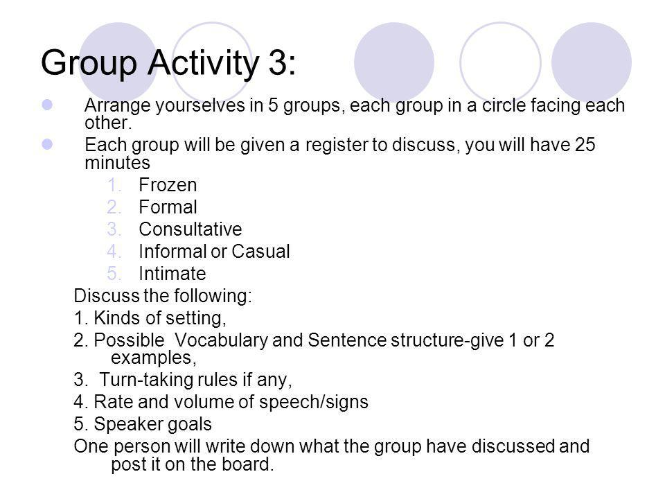 Group Activity 3: Arrange yourselves in 5 groups, each group in a circle facing each other.