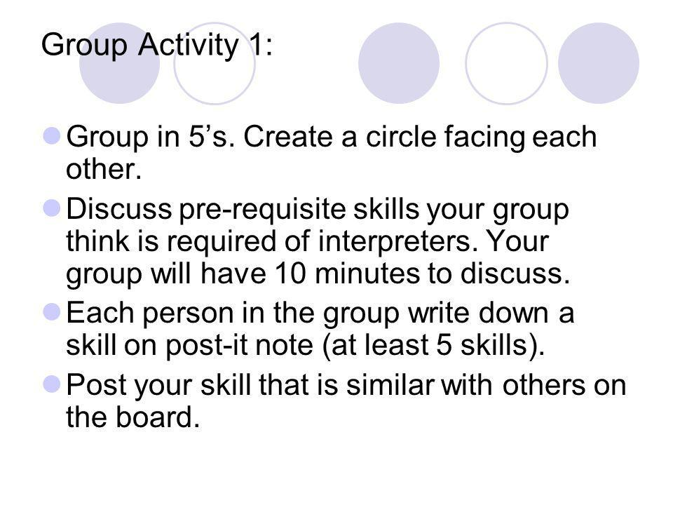 Group Activity 1: Group in 5's. Create a circle facing each other.