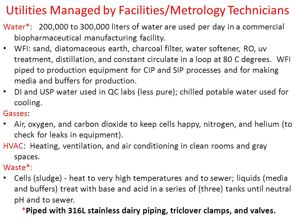 Utilities Managed by Facilities/Metrology Technicians