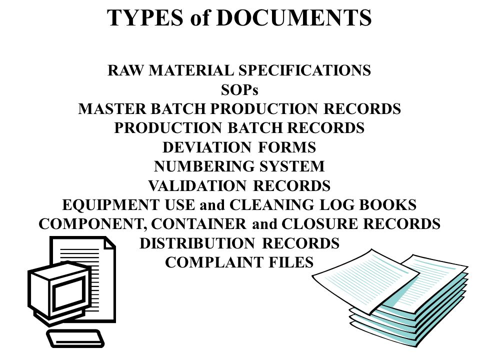 TYPES of DOCUMENTS RAW MATERIAL SPECIFICATIONS SOPs