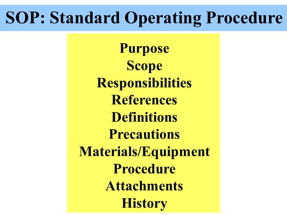 SOP: Standard Operating Procedure