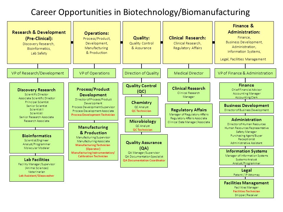 Career Opportunities in Biotechnology/Biomanufacturing