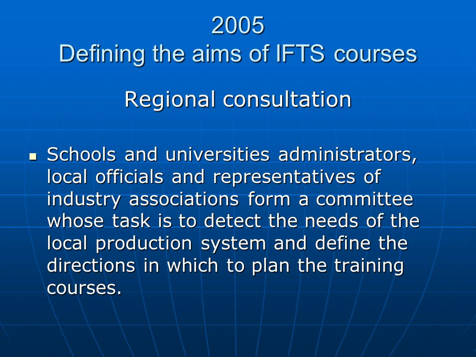 2005 Defining the aims of IFTS courses