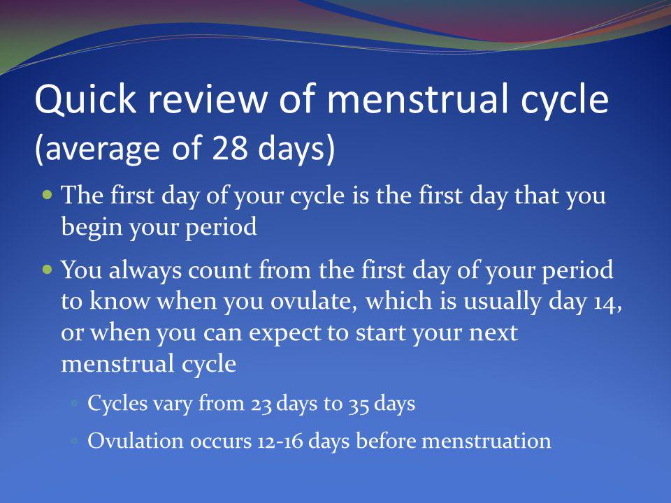 Quick review of menstrual cycle (average of 28 days)