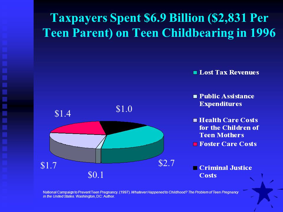 Taxpayers Spent $6.9 Billion ($2,831 Per Teen Parent) on Teen Childbearing in 1996