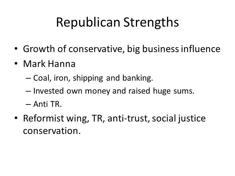 Republican Strengths Growth of conservative, big business influence