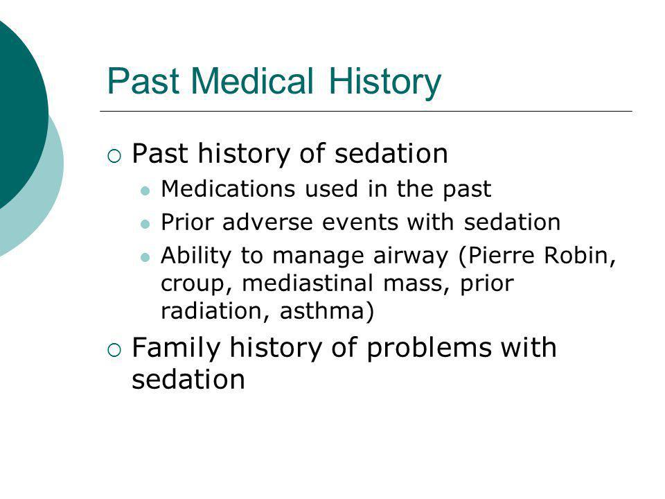 Past Medical History Past history of sedation