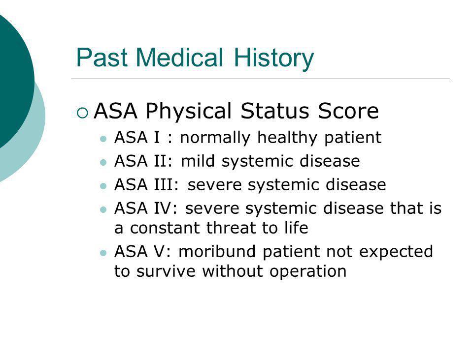 Past Medical History ASA Physical Status Score