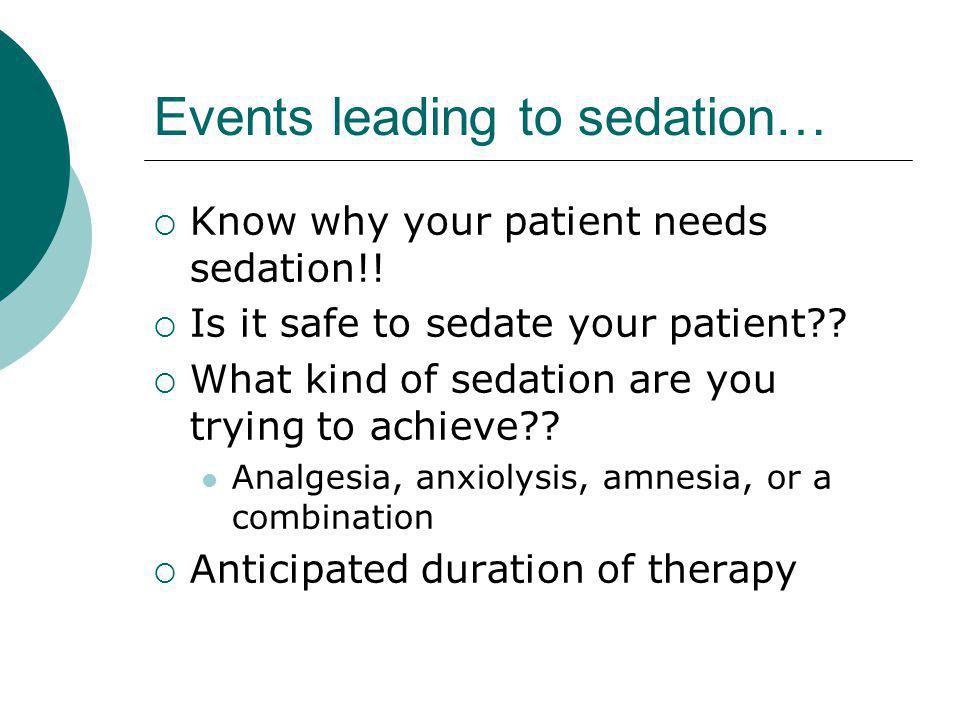 Events leading to sedation…