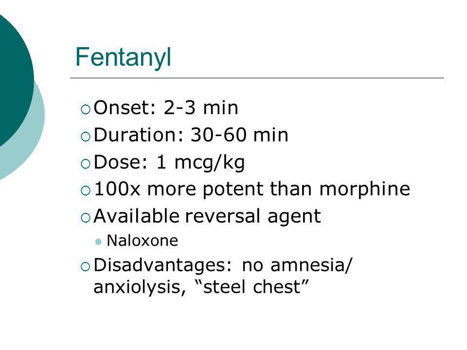 Fentanyl Onset: 2-3 min Duration: 30-60 min Dose: 1 mcg/kg