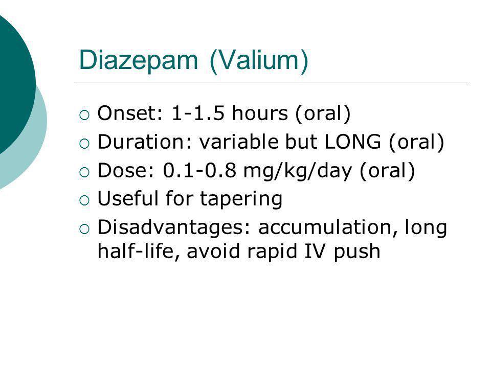 Diazepam (Valium) Onset: 1-1.5 hours (oral)