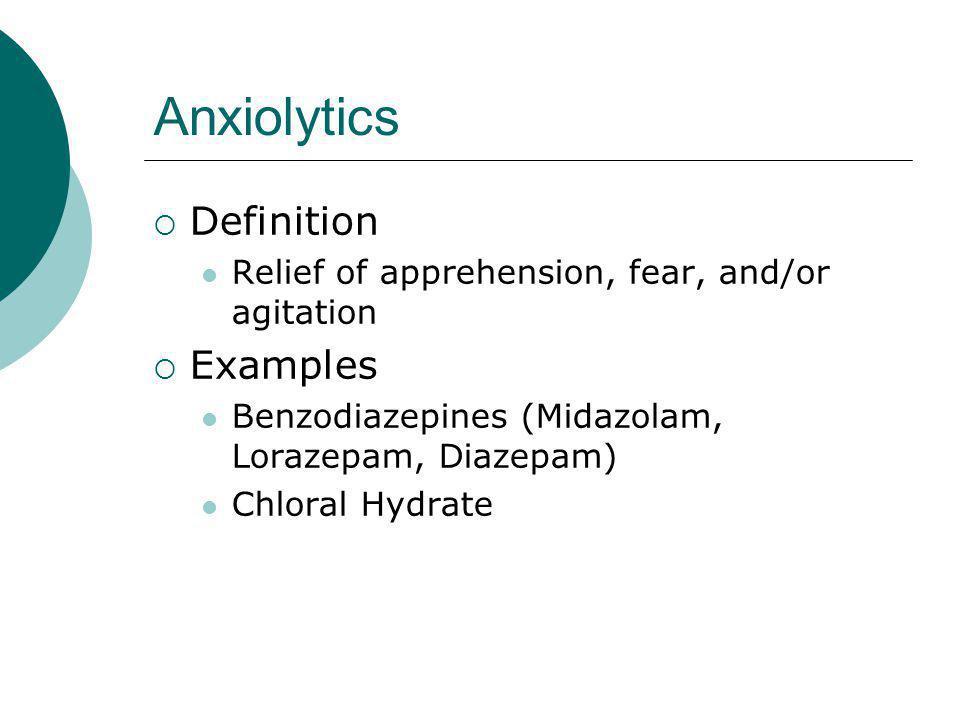 Anxiolytics Definition Examples