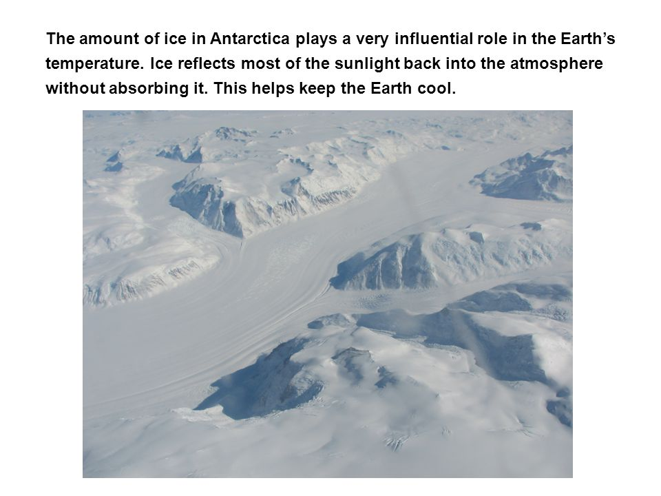 The amount of ice in Antarctica plays a very influential role in the Earth's temperature. Ice reflects most of the sunlight back into the atmosphere without absorbing it. This helps keep the Earth cool.