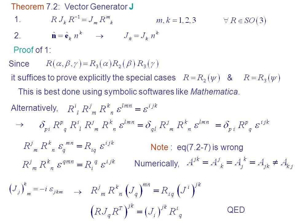 Theorem 7.2: Vector Generator J