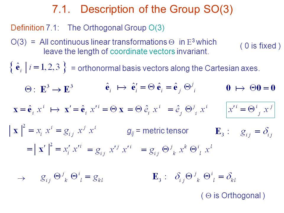 7.1. Description of the Group SO(3)