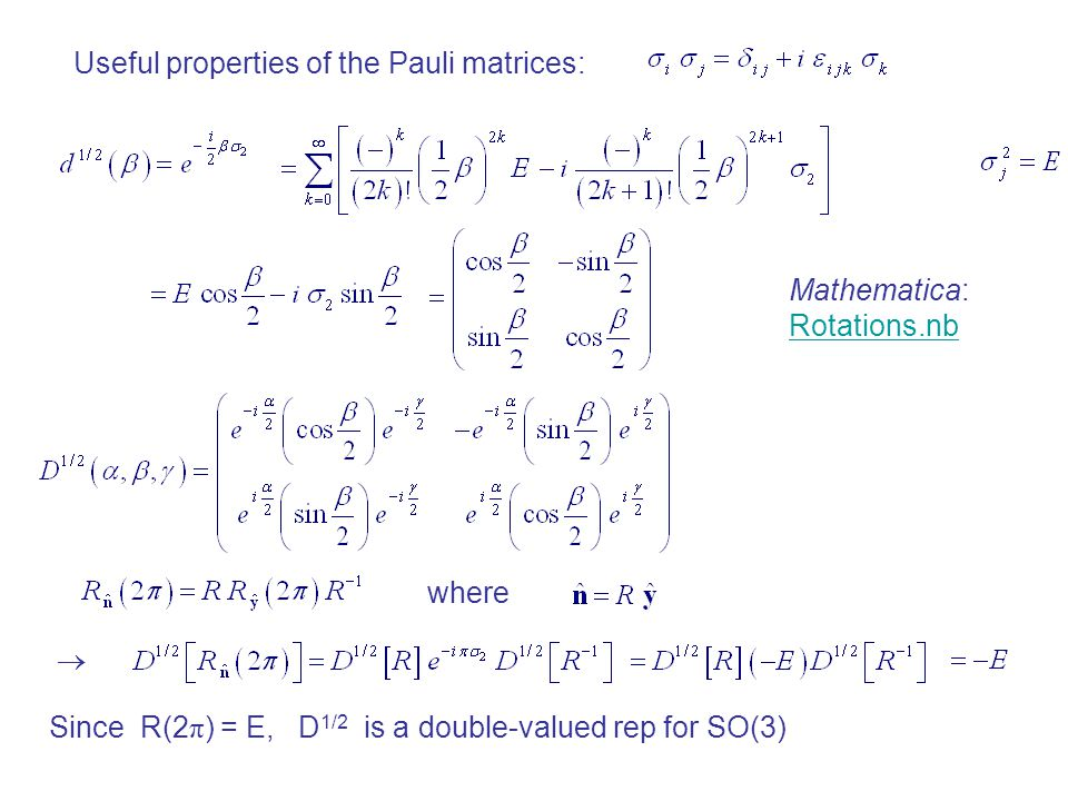 Useful properties of the Pauli matrices:
