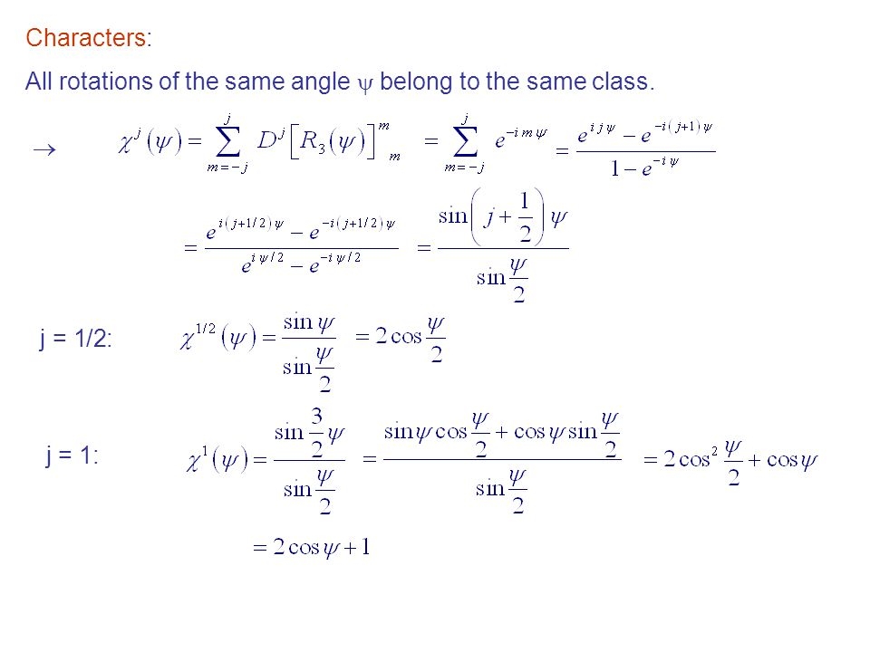Characters: All rotations of the same angle  belong to the same class.  j = 1/2: j = 1:
