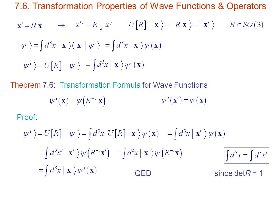 7.6. Transformation Properties of Wave Functions & Operators