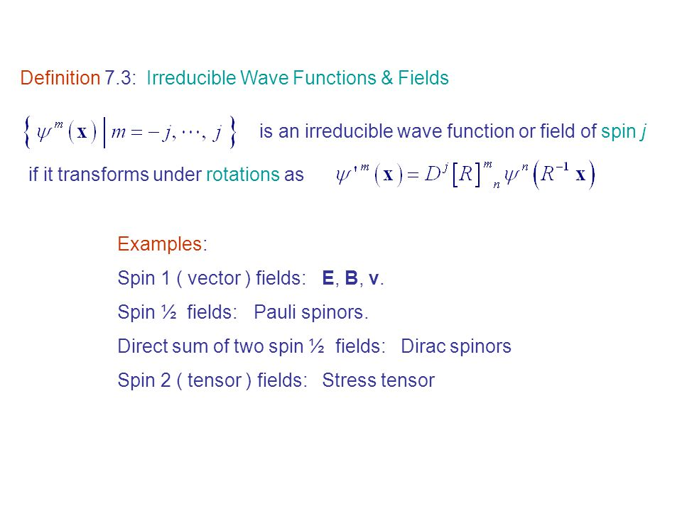 Definition 7.3: Irreducible Wave Functions & Fields