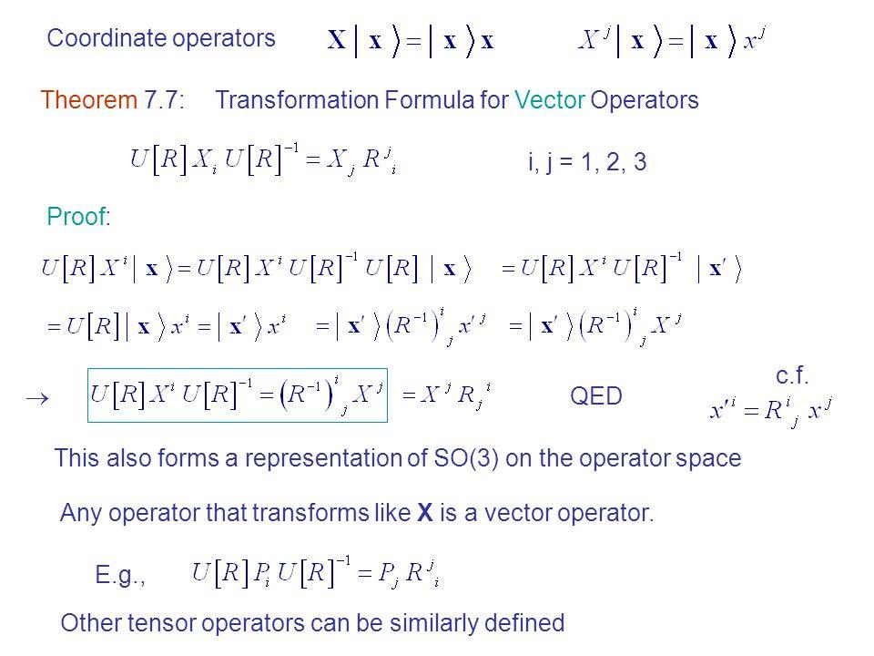 Coordinate operators Theorem 7.7: Transformation Formula for Vector Operators. i, j = 1, 2, 3. Proof: