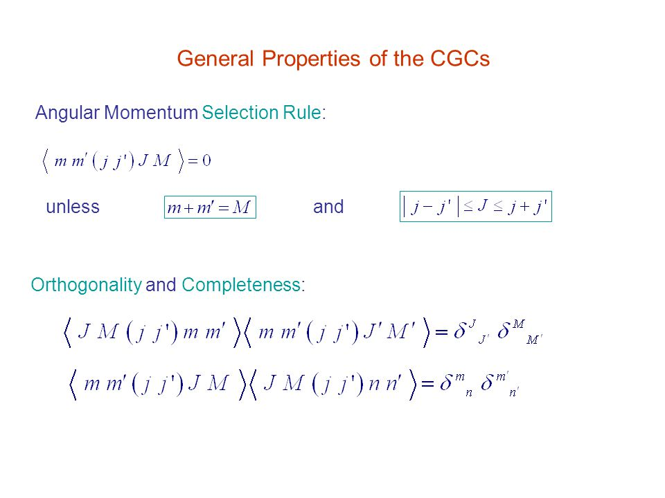 General Properties of the CGCs