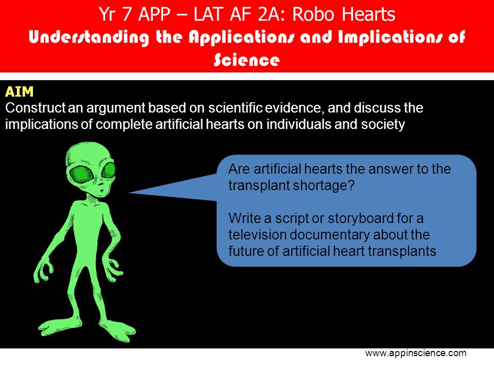 Yr 7 APP – LAT AF 2A: Robo Hearts Understanding the Applications and Implications of Science